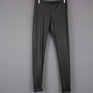 Faux Leather Leggings XS Black Stretch Roll Cuff